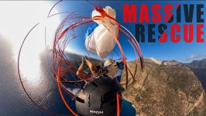 PARAGLIDING FAIL : RESCUE AFTER FALLING INTO MY CANOPY WHILE ACRO TRAINING