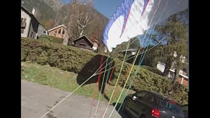 paraglider landing at friend's apartment