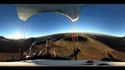 Paramotor and Paragliding near Vulcanoes (360 video , ricoh theta s)