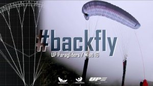BACK FLY / TAIL SLIDE PARAGLIDE WING [UP Misty proto 16sqm] in a post- FULL STALL stage